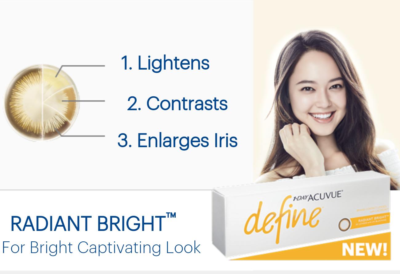 Bright Define Buy 1 Day Acuvue Define Radiant Bright Charm Plano Non